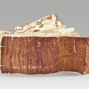 "All It Takes (2016). Stamped Foil And Persimmon Dye On Paper Mulberry Bark, Thread. 2 X 5.75 X 0.75"" Closed, 2 X 11.25"" Open. 10 Leaves. Collection Of Baylor University Crouch Library."