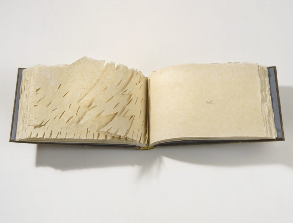 "I'd like a home (2007). Handmade abaca and milkweed paper, papercuts and pen, 72 pages. 4.25 x 7 x 1"". Oberlin College Art Library Collection."