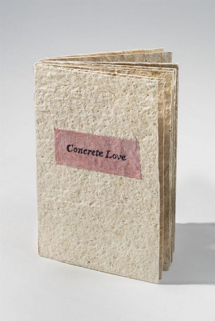 "Concrete Love (2010). Pen on handmade mulberry paper and cochineal-dyed hanji. 6 x 4 x 7/8"". Edition of 2. Various collections."