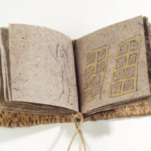 "The Story Of A Book (2011). Pen And Pencil Comic On Handmade Slippery Elm Paper, Slippery Elm-dyed Hanji Yarn Corded And Woven, Kon'nyaku-covered Covers. 3.25 X 3.25 X 0.5"". MIA."