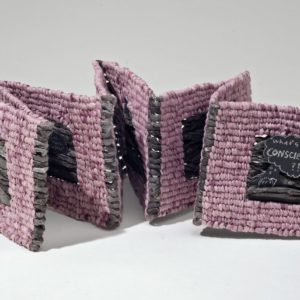 "What's A Conscience? (2012). Pen On Paper, Cochineal Dye, Ink, Spun And Woven Hanji, 8 Panels, 4 X 3.75 X 2"" Closed, 34"" Wide Open. Indiana University Fine Arts Library Collection."