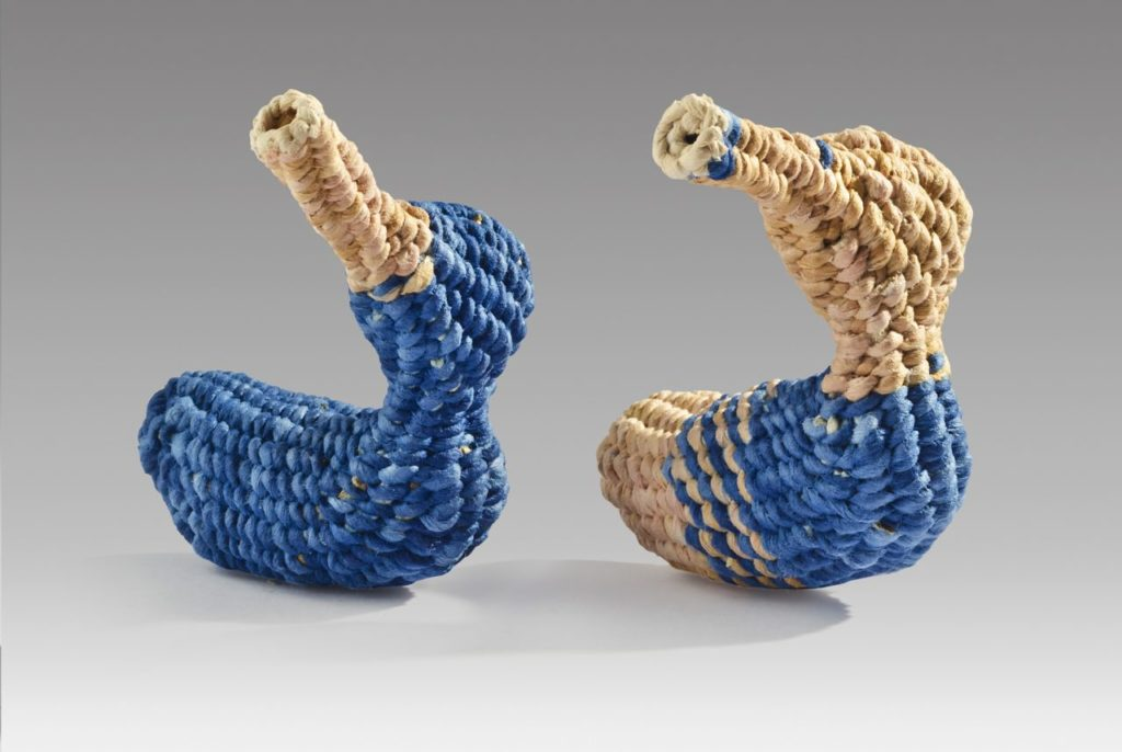 "Mini blue ducks (2016). Corded and twined hanji, dyes. 2.75 x 2.5"" x 2.25"" each. Private collections."