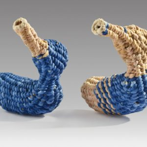 "Mini Blue Ducks (2016). Corded And Twined Hanji, Dyes. 2.75 X 2.5"" X 2.25"" Each. Private Collection (right Duck)."