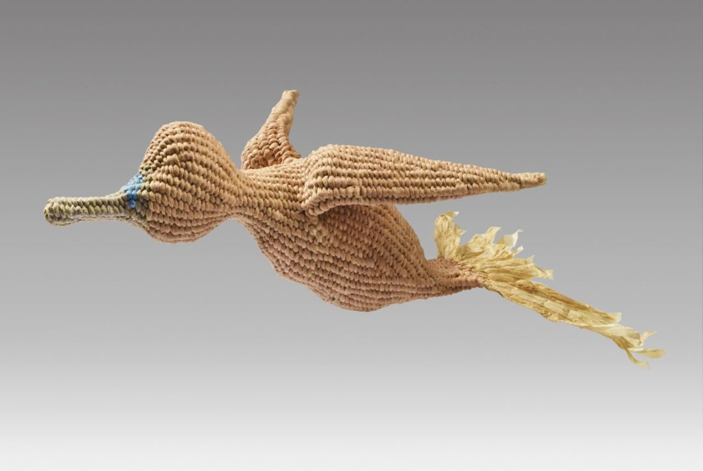 """Flying duck 2 (2016). Corded and twined hanji, natural dyes. 11.75 x 7 x 3.75""""."""