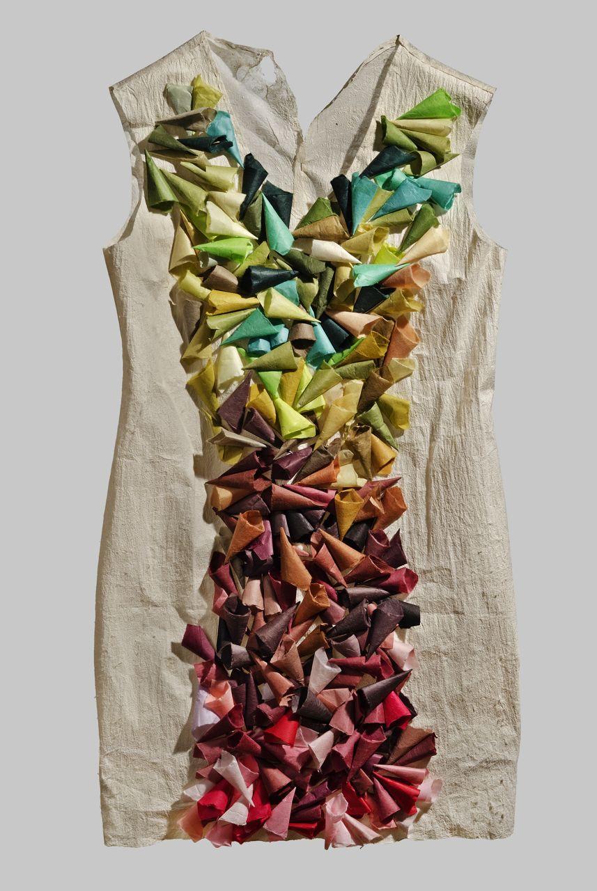 """Paper Dress 3 (2012). Hanji. 33 x 17 x 1.5""""."""