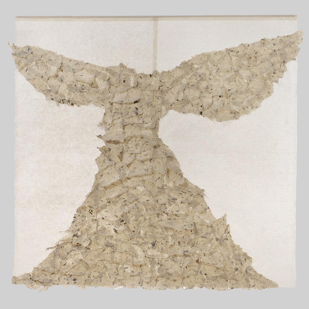 "When grandfathers die II (2009). Bark hanji, hanji; 55 x 58"". Private collection."