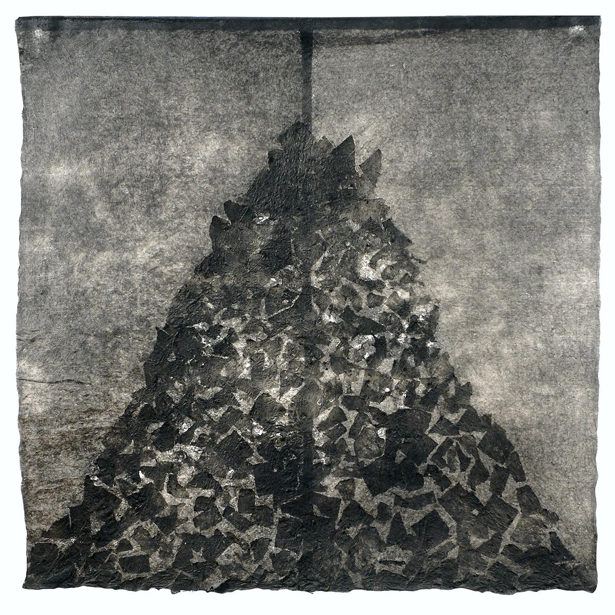 """Milarepa I (2009). Ink, bark hanji, hanji; 54 x 54""""."""