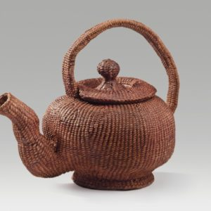 """Footed Teapot (2016). Corded And Twined Hanji, Persimmon Juice. 6.75 X 8.25 X 5""""."""