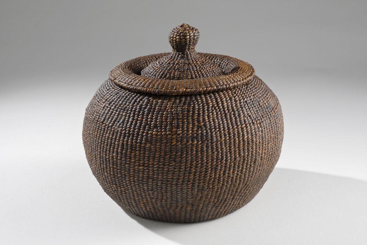 "Chamber pot (2009). Hanji, lacquer; 6.25"" high."