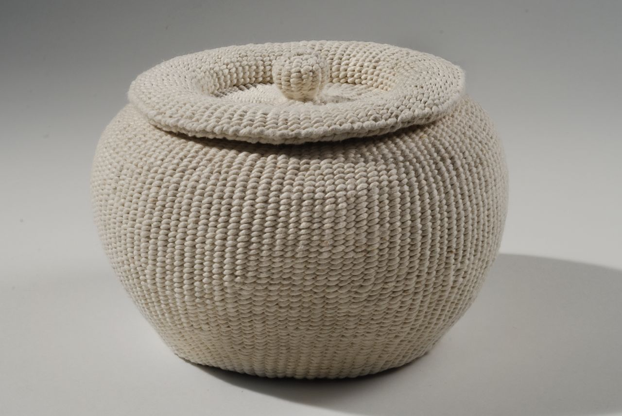 "Chamber pot 2 (2012). Hanji. 6.25"" diameter, 4.25"" high."