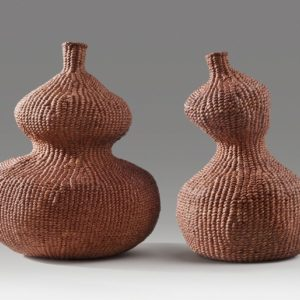 "Paired Gourds (2014). Persimmon Dye On Hanji. 7"" High, 6"" Wide; 6.5"" High, 3.5"" Base Diameter."