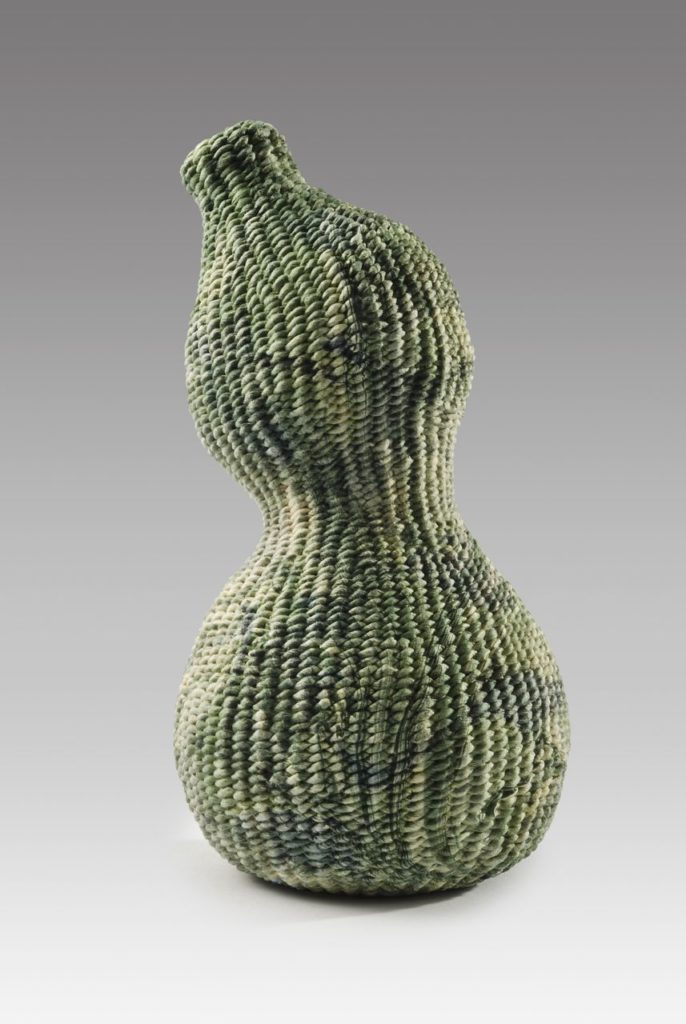 "Marbled gourd (2015). Hanji, acrylic paint. 8"" high, 3.5"" base diameter. Private collection."
