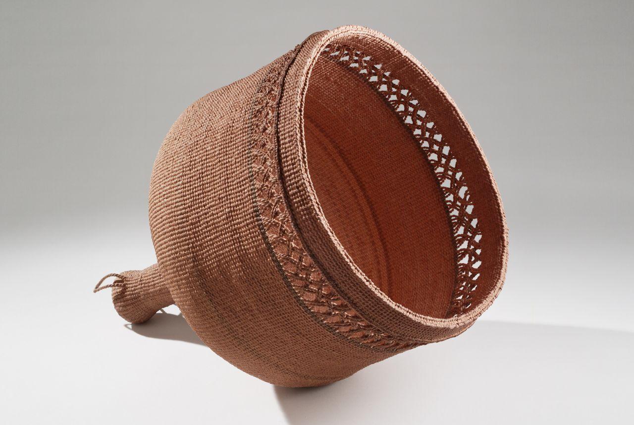 """Lamp (2009). Hanji, persimmon dye. 14.5"""" high, 12"""" diameter"""