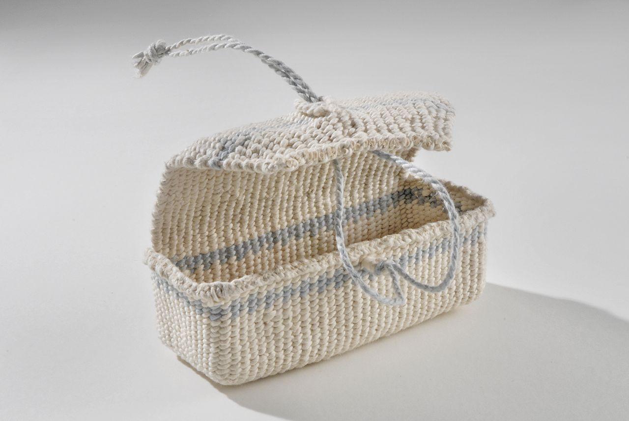 """Rectangular case (2009). Hanji, indigo. 2 x 4.75 x 2"""". Private collection."""