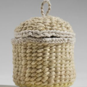 "Yellow Lidded Basket (2010). Natural Dye On Hanji. 2.5"" High. Private Collection."