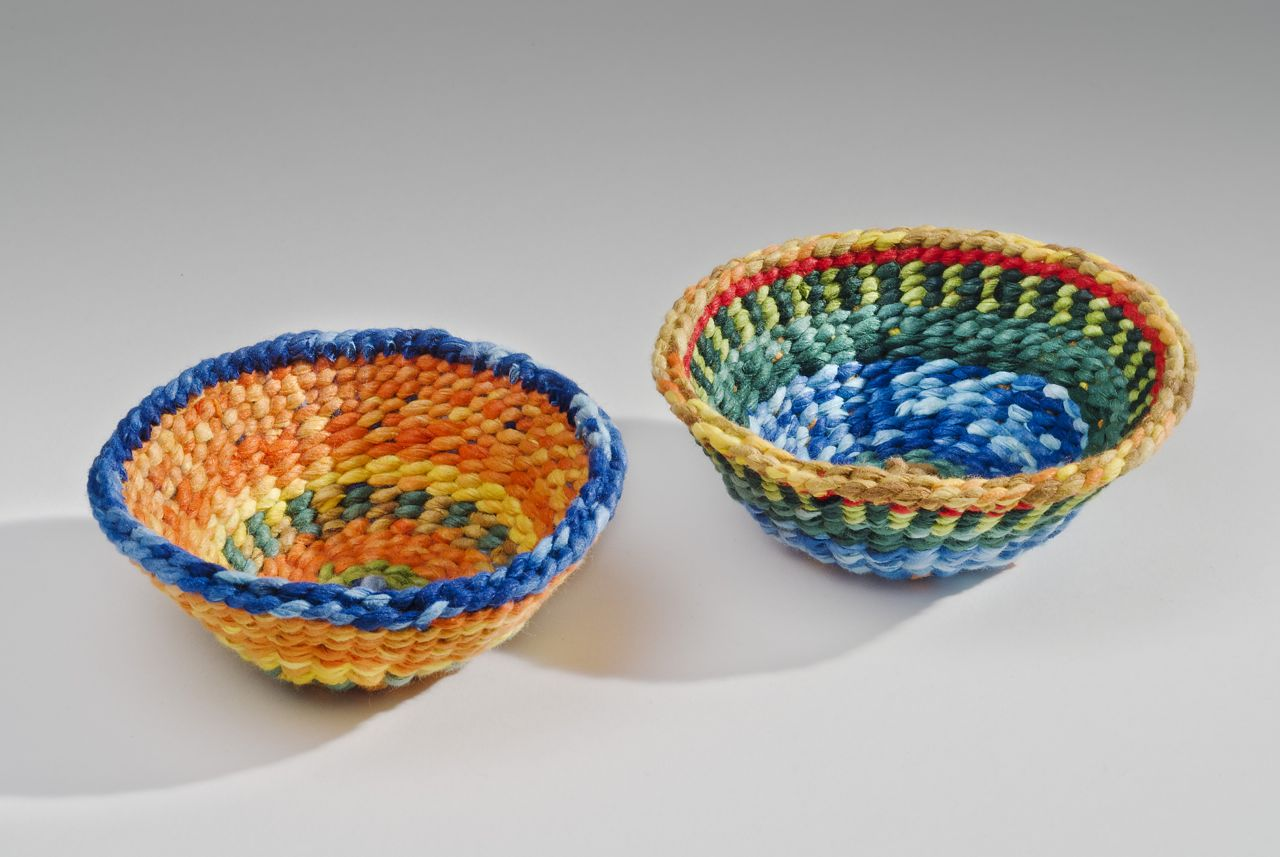 "Orange and forest fiesta bowls (2013). Washi. 1.5"" h, 3.5"" rim dia. Private collections."