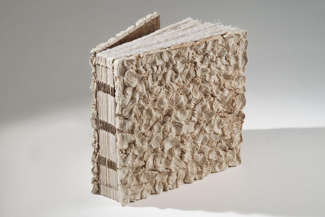 "100% hanji book (2009). Hanji, bark thread. 9.5 x 9.5 x 2.75"". Covers by Jang Ji Bang."