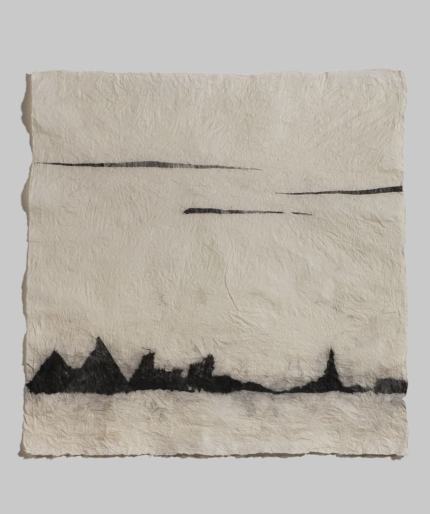 "Landscape series B (2010). Ink on felted hanji; 26 x 25.5"". Private collection."