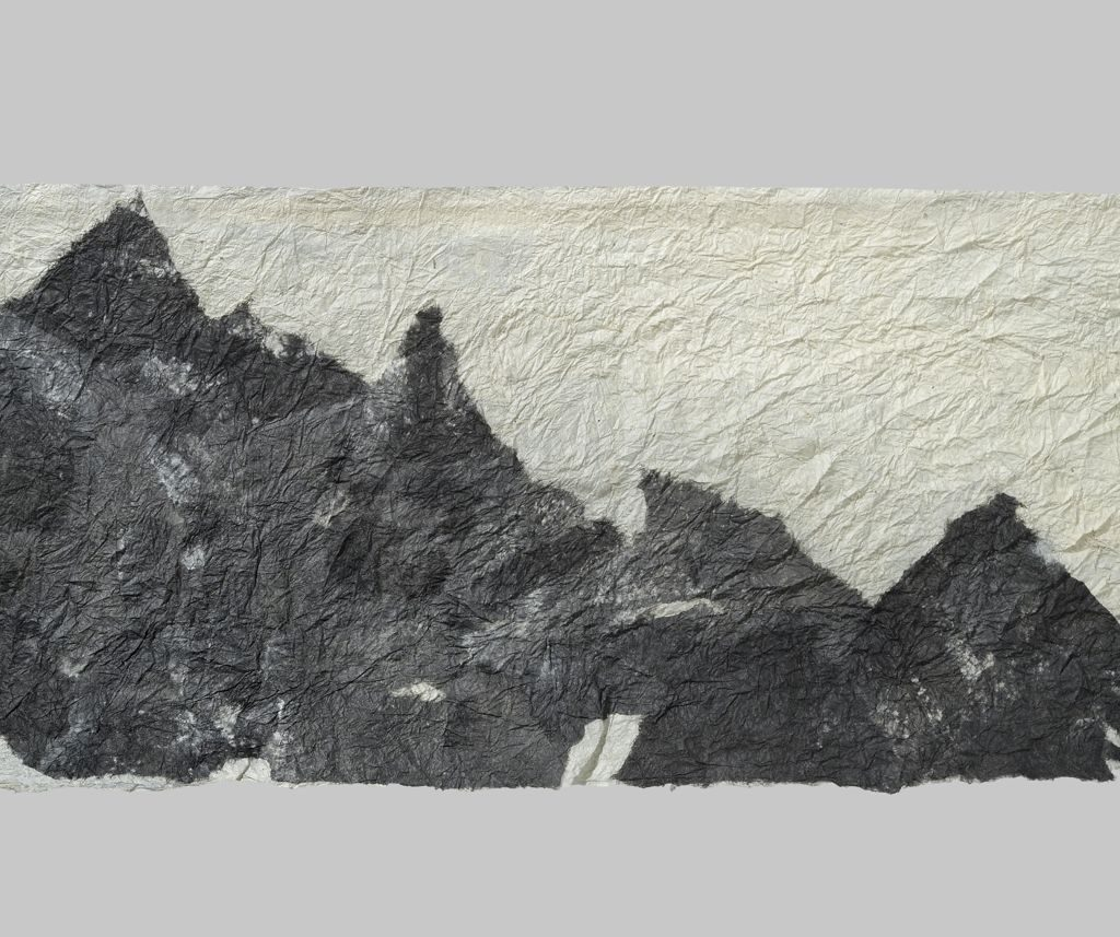 """Rising (2011). Ink on felted hanji, 11 x 24"""". Private collection."""