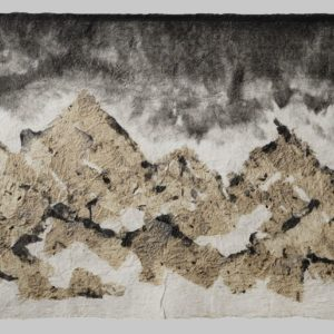 "Green Mountains (2010). Ink On Felted Hanji And Bark Hanji. 23 X 33.5"". Private Collection."