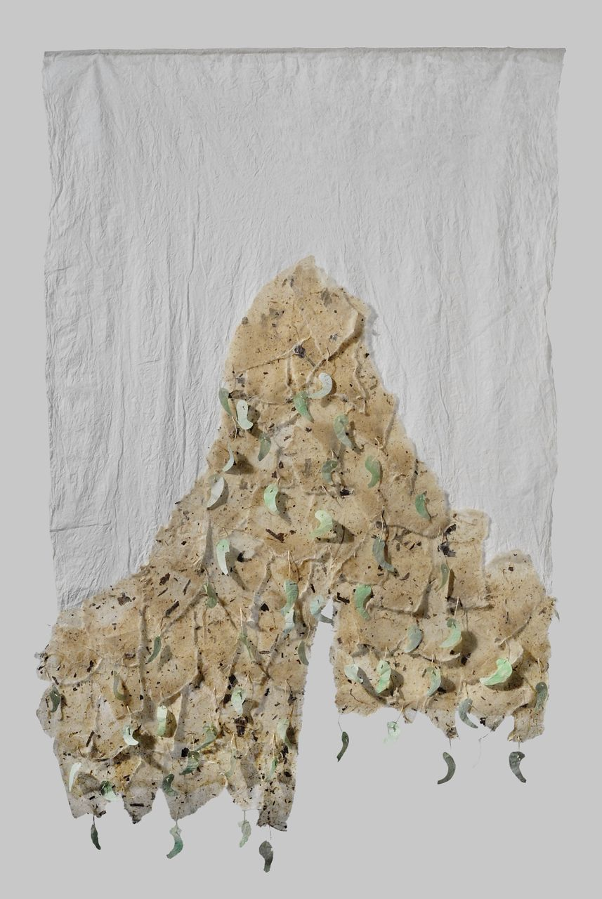 "Jeweled mountain (2010). Beeswax on bark hanji, bark thread, gouache on hanji. 33.5 x 22""."