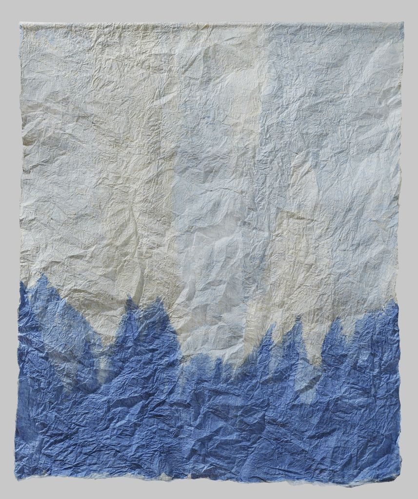 """Blue peaks (2011). Felted hanji, 27.5 x 23"""". Private collection."""