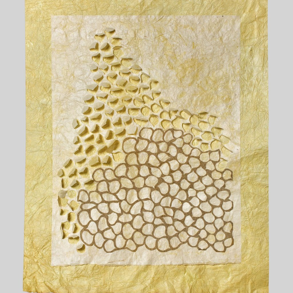 "Vacancy study (2014). Pomegranate dye and konjac on hanji, hosta paper. 23.5 x 18.5"". Private collection."