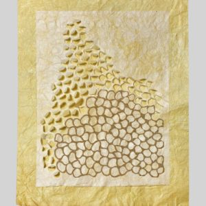 "Vacancy Study (2014). Pomegranate Dye And Konjac On Hanji, Hosta Paper. 23.5 X 18.5""."