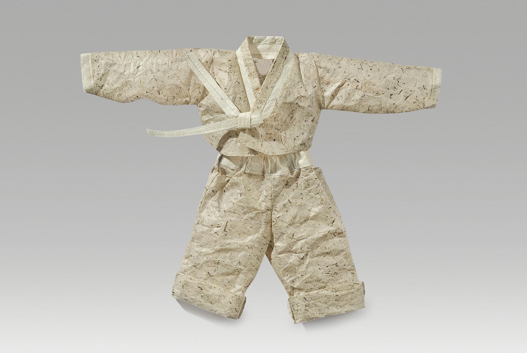 "Industry (2017). Handmade milkweed paper, hanji, thread. 10 x 12"". Private collection."