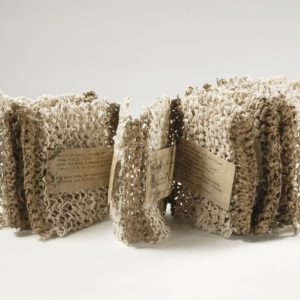 """""""Listen To What You've Been Carrying For A Long Time"""" (2006). Handmade Mulberry Paper, Thread, Typed Poem. 6 X 67"""" Opened. Private Collection."""