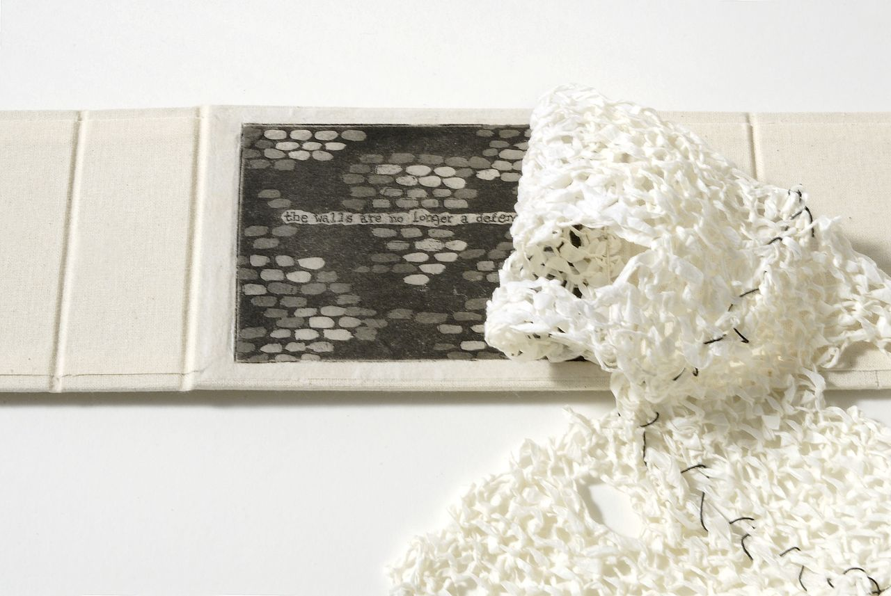 "Fifth Knit Book (2008). Washi, intaglio on tissue paper, chitsu case; 3.5 x 5 x 1.5 closed, 18.75"" wide open. SAIC Flasch Collection."