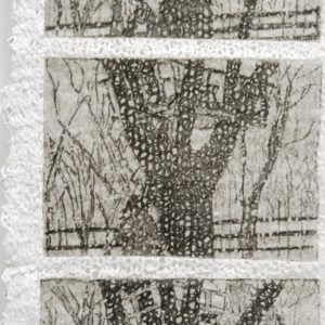 """Private Performance: Treehouse (2008). Intaglio On Knit Linen Paper Yarn, 53 X 9.5""""."""
