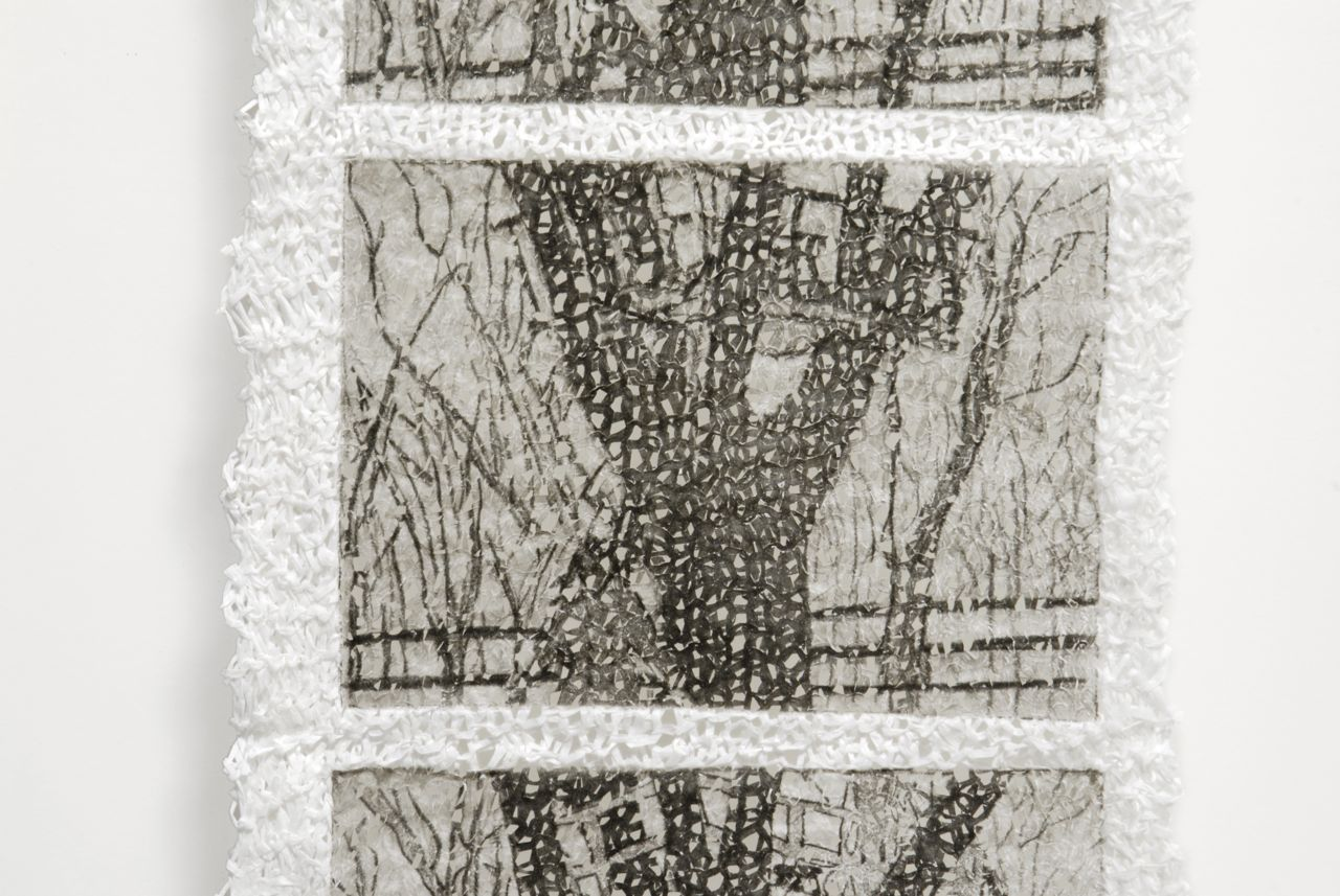 "Private Performance: Treehouse (2008). Intaglio on knit linen paper yarn, 53 x 9.5""."