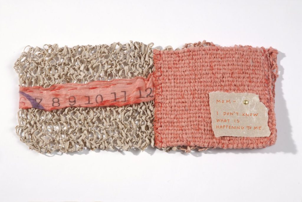 "Chapter Fifteen (2009). Spun, knit, corded, and woven handmade paper (abaca, hemp, and dyed hanji), pen on hemp paper, thread. 4 x 5 x 0.75"". U of Denver Penrose Library Collection."