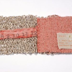 """Chapter Fifteen (2009). Spun, Knit, Corded, And Woven Handmade Paper (abaca, Hemp, And Dyed Hanji), Pen On Hemp Paper, Thread. 4 X 5 X 0.75"""". U Of Denver Penrose Library Collection."""