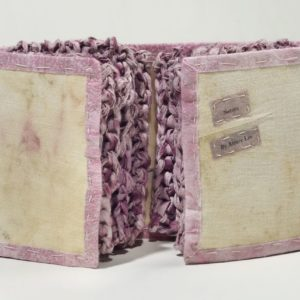 """Sisters (2011). Inkjet Print On Dyed Hanji, Dyed And Knitted Handmade Mulberry Paper, Eco-printed Linen, Thread. 5 X 8 X 1.5"""" Closed, 17"""" Wide Open. Oberlin College Art Library Collection."""