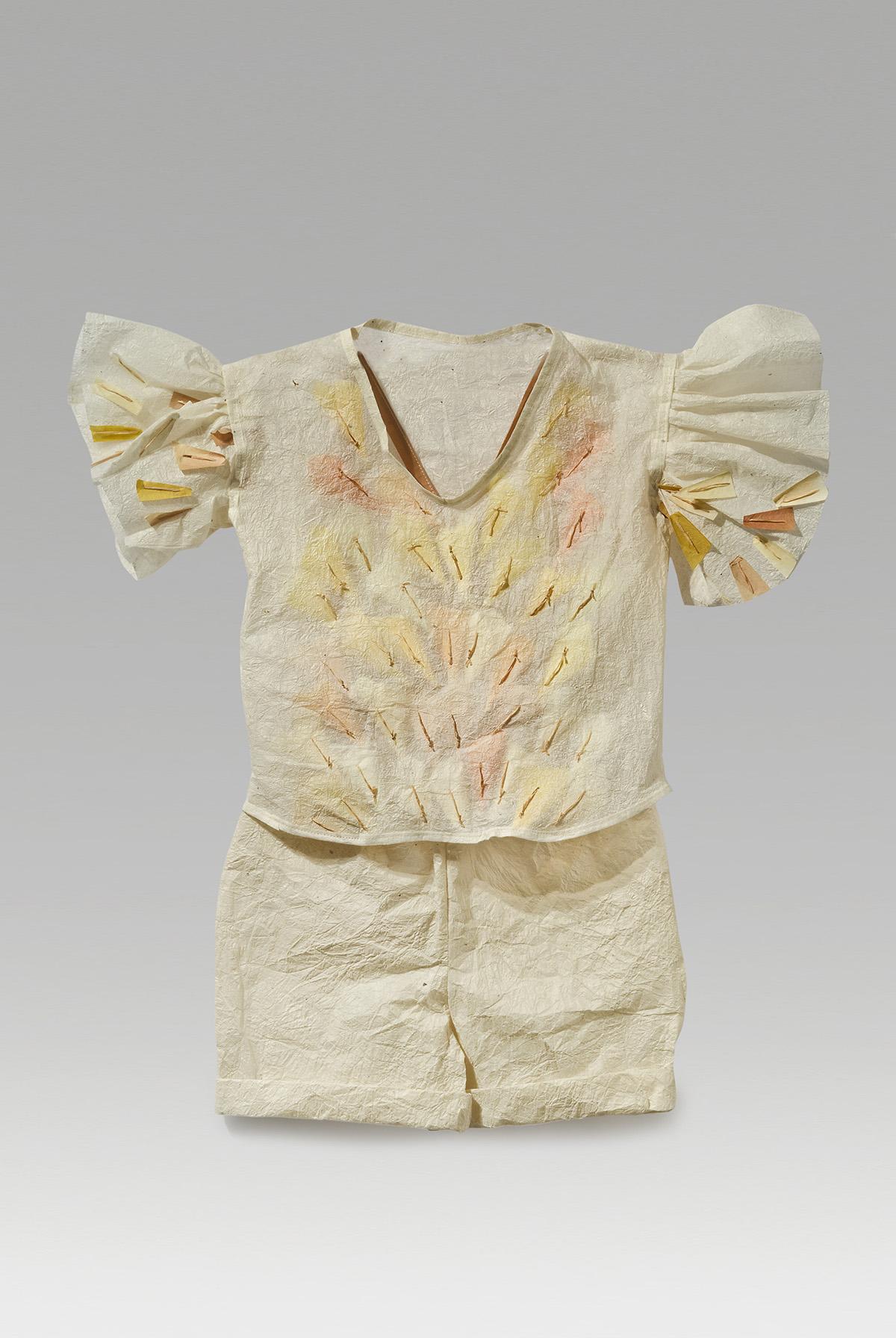 "Pearl (2017). Hanji and paper yarn, thread. 22 x 21"""