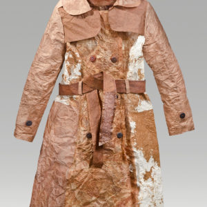 "Appaloosa Coat (2016). Persimmon Juice On Hanji, Thread, Buttons. 41 X 39 X 5""."
