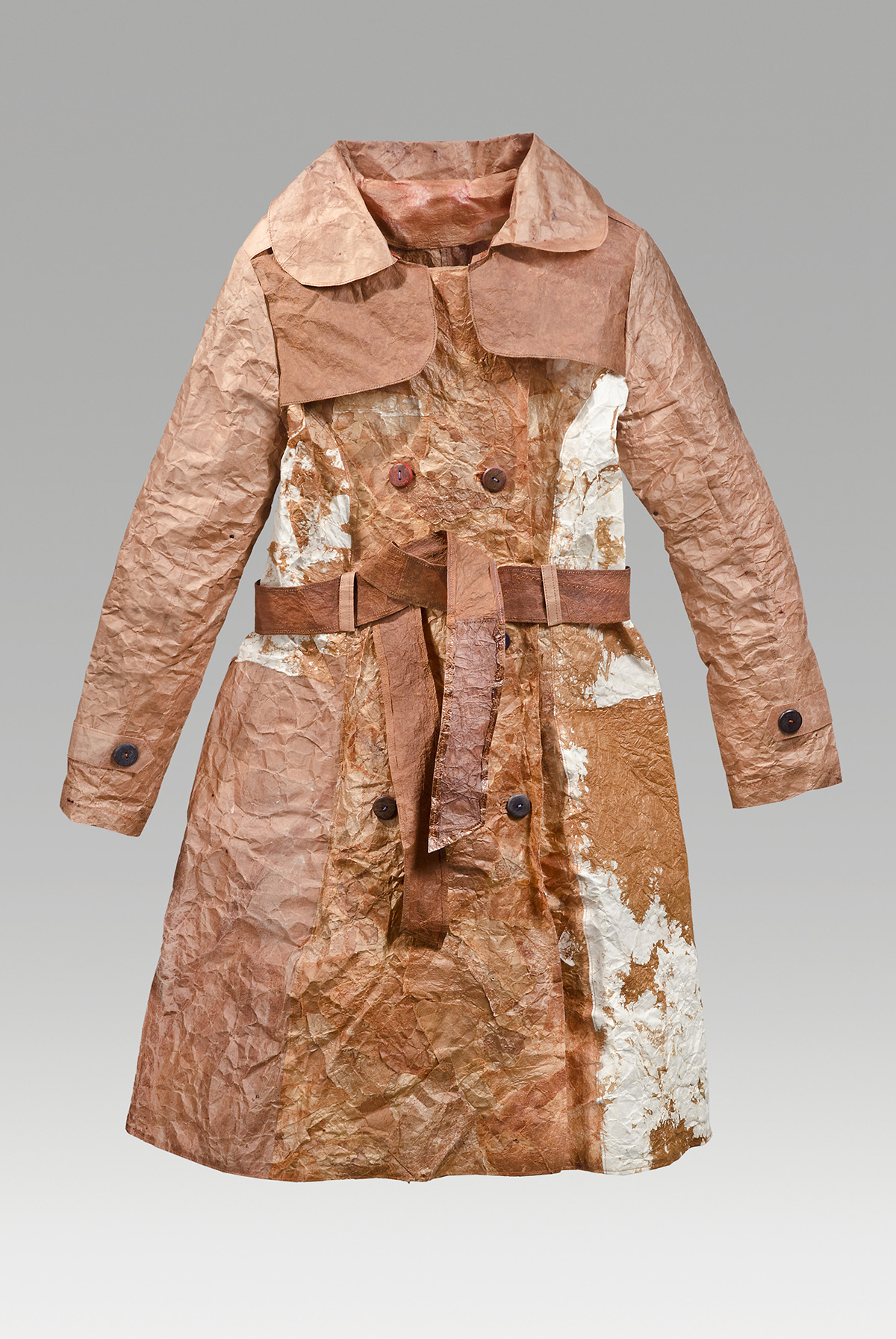 "Appaloosa coat (2016). Persimmon juice on hanji, thread, buttons. 41 x 39 x 5"". Private collection."