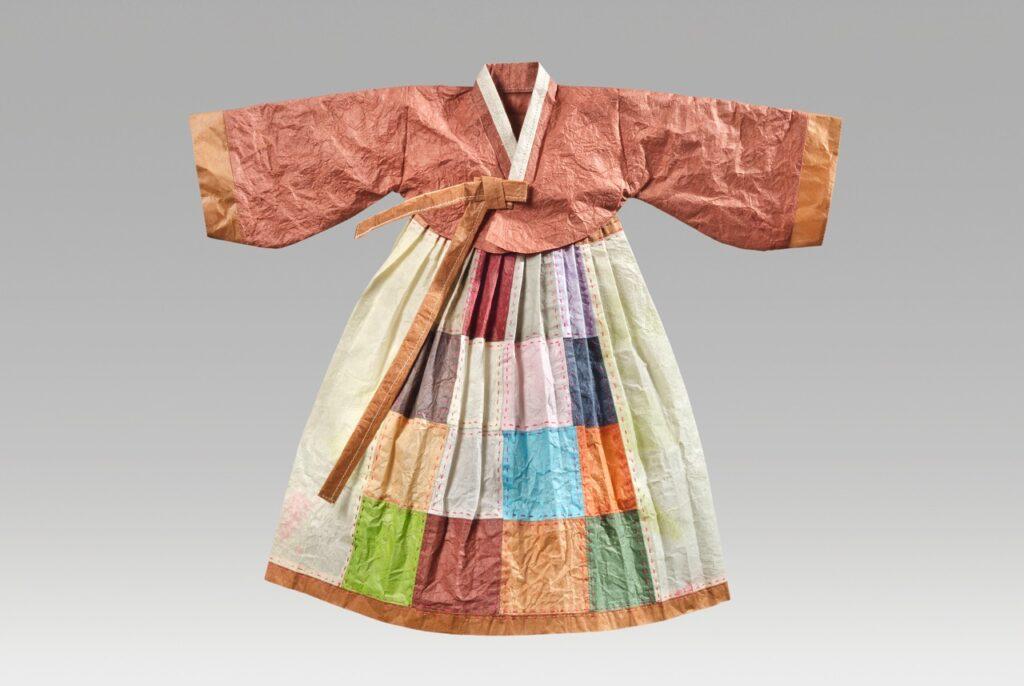 "Bojagi hanbok (2017). Hanji, thread. 15.5 x 17.5"". Private collection."