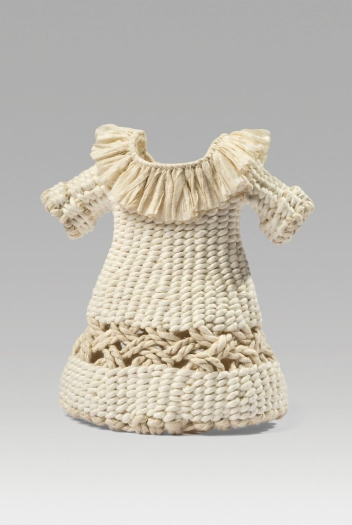 """Bone dress (2017). Corded and twined hanji. 4.5 x 4 x 2.5"""". Private collection."""
