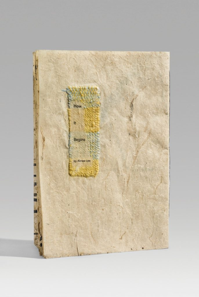 "How It Begins (2018). Inkjet on handmade milkweed and mulberry paper embedded with paper threads and woven paper. 9.75 x 6.75 x 0.25"" closed, 10 pages. Scripps College Denison Library collection."