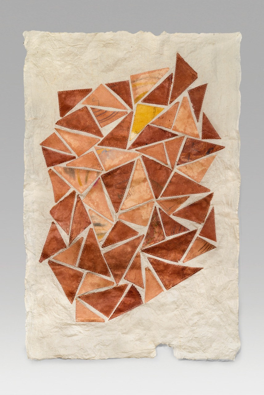 "Dog-eared (2019). Natural dyes and marks on hanji, thread. 34 x 23"". Private collection."