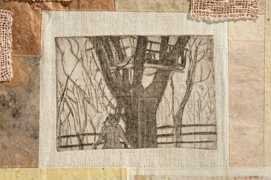 "Mapping: Treehouse (2019). Etching, natural dyes, thread, on handmade papers; woven paper thread. 19 x 24.5""."