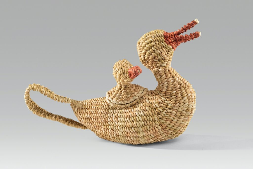 "Duck & duckling teapot (2020). Natural dyes, corded on twined hanji. 5.25 x 8 x 2""."