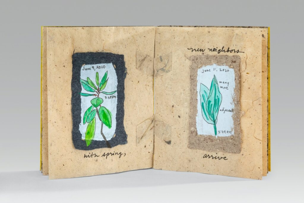 """The Drama of a Few Square Feet (2020). Acrylic and gouache on Wake Robin papers, thread, marigold dye (6 leaves, mulberry & milkweed covers, milkweed endsheets, mulberry chiri pages). 5.3 x 4.25 x 0.5""""."""