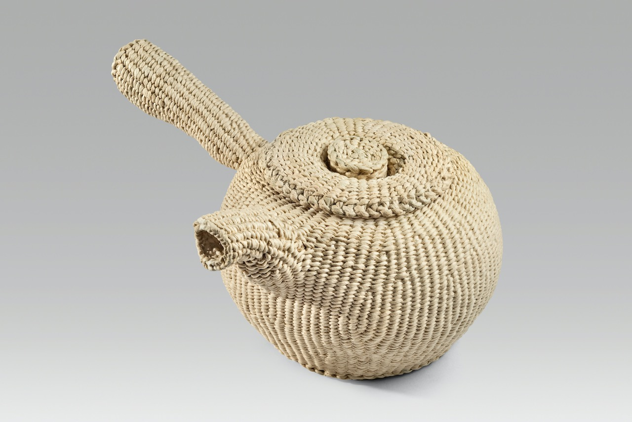 """High spout teapot (2020). Corded and twined hanji. 3.75 x 8.25 x 6.25""""."""